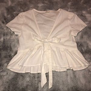 Brandy Melville White Tie Up Top